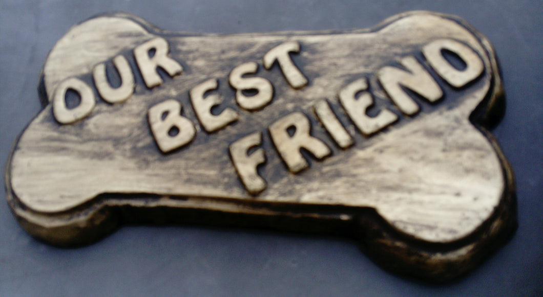 Dog Bone Pet Memorial Plaque, Black and Gold Effect PERSONALISED