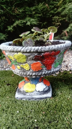 Hand painted flower planter with plinth
