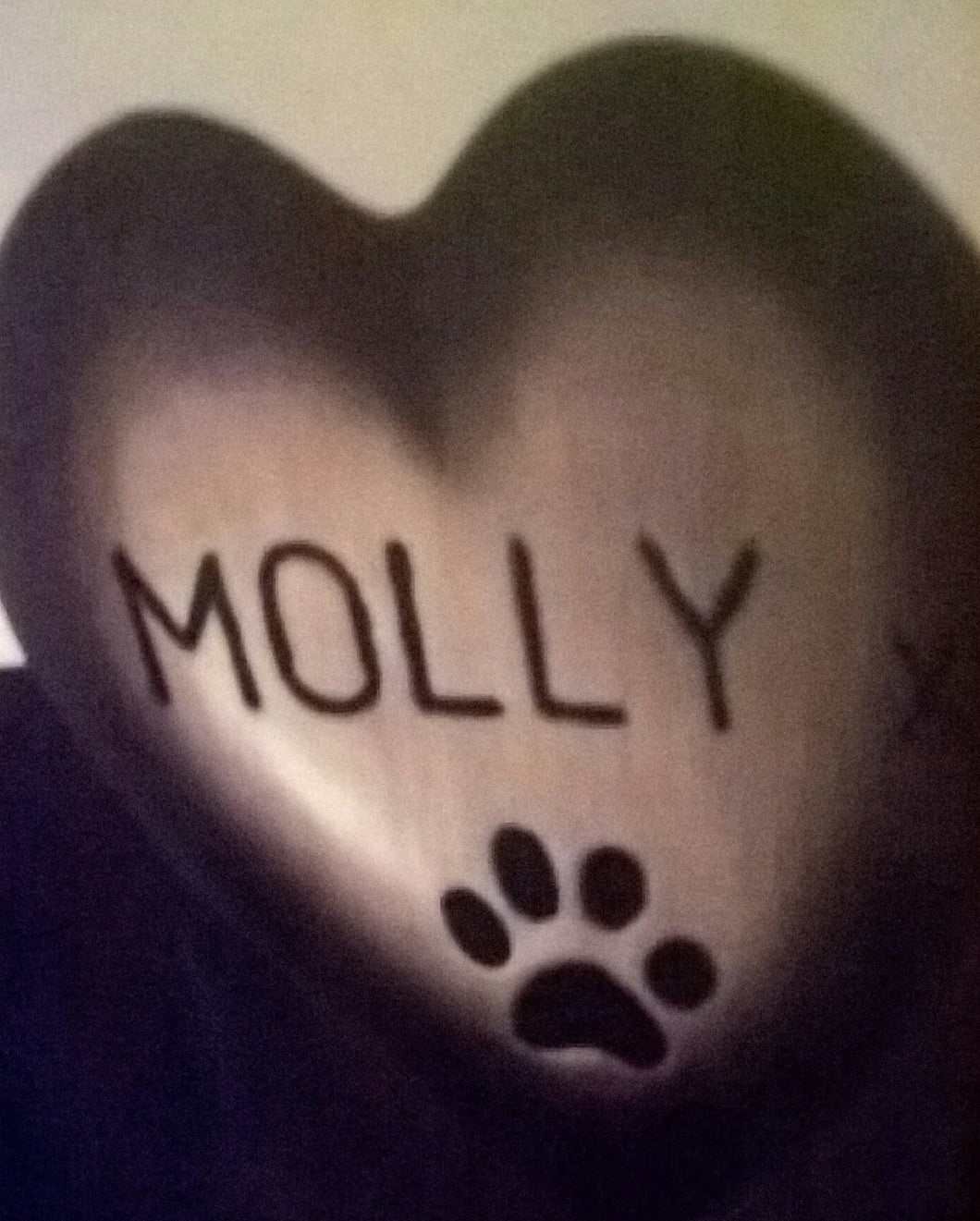Heart Shaped Paw Print Pet Memorial, Gold Effect with Black PERSONALISED