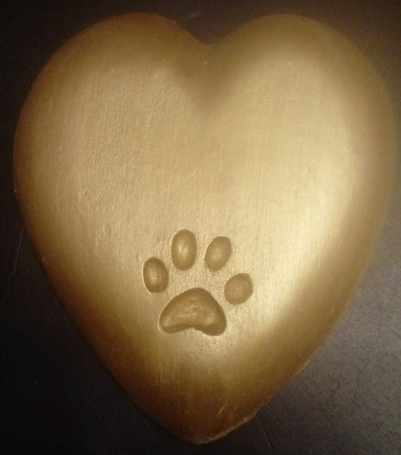 Heart Shaped Paw Pet Memorial Plaque
