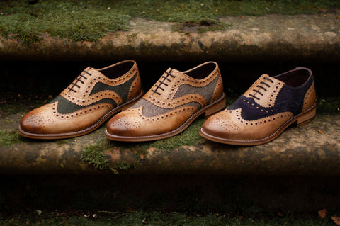 Three different versions of London Brogue Gatsby Shoe in Tan with detailing in a variety of different fabric finishes