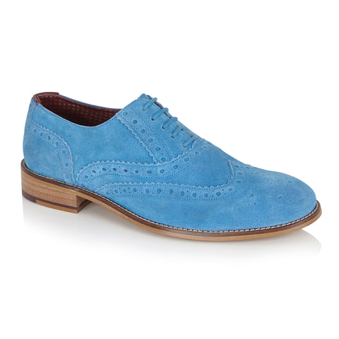 Blue suede brogue