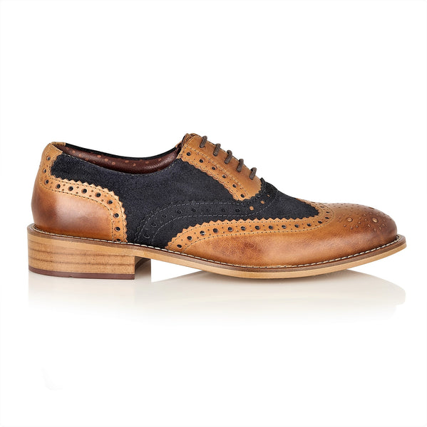 Gatsby Junior Brogues Tan/Navy