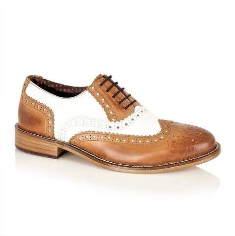 Gatsby Junior Brogues Tan/White, Shoes, London Brogues  - London Brogues