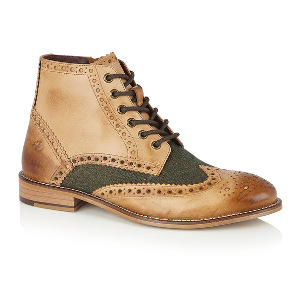 Gatsby Boot Tan/Green Tweed