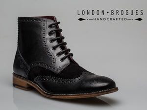 Gatsby Hi Boot Leather Black, Boots, London Brogues  - London Brogues
