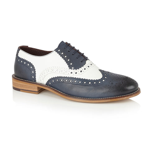 Gatsby Leather Brogue Navy/White