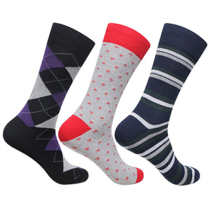 Men's Mixed Style Socks Three Pack, Socks, London Brogues  - London Brogues