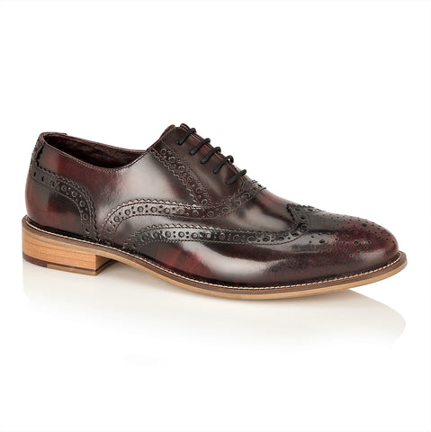 Gatsby Leather Brogue Bordo Polished, Shoes, London Brogues  - London Brogues