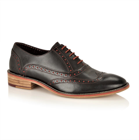 George Oxford Leather Black, Shoes, London Brogues  - London Brogues