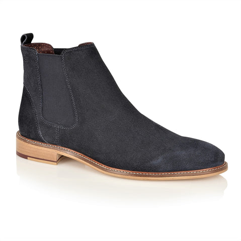Hamilton Suede Chelsea Boot Navy, Boots, London Brogues  - London Brogues