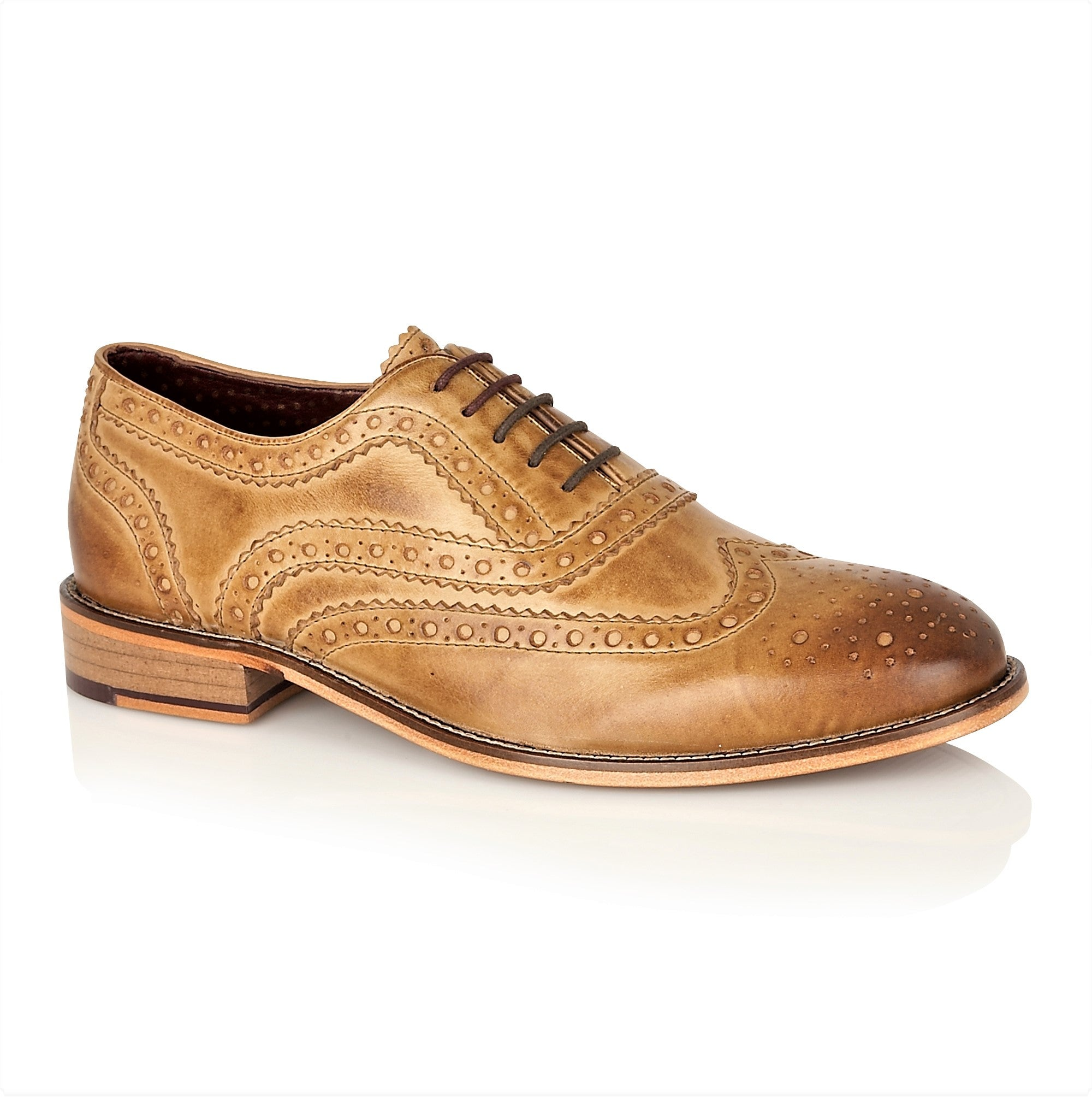 Watson Full Leather Brogue Tan