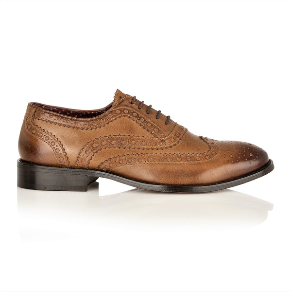 Watson Full Leather Brogue Chestnut