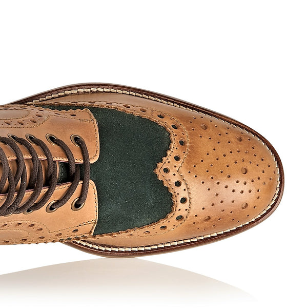 Gatsby Hi Boot Leather Tan/Green, Boots, London Brogues  - London Brogues