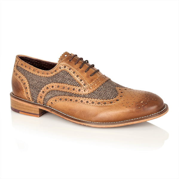 Watson Full Leather Brogue Tan / Tweed, Shoes, London Brogues  - London Brogues