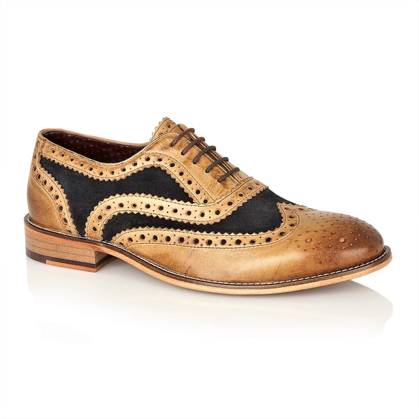 Watson Full Leather Brogue Tan / Navy