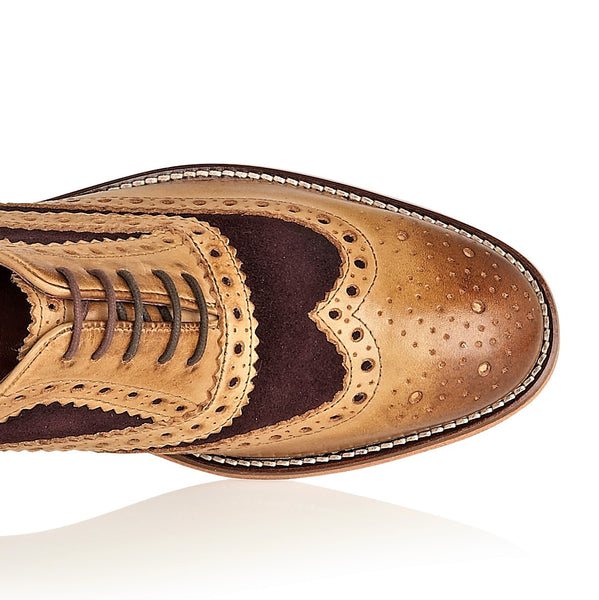 Watson Full Leather Brogue Tan / Plum