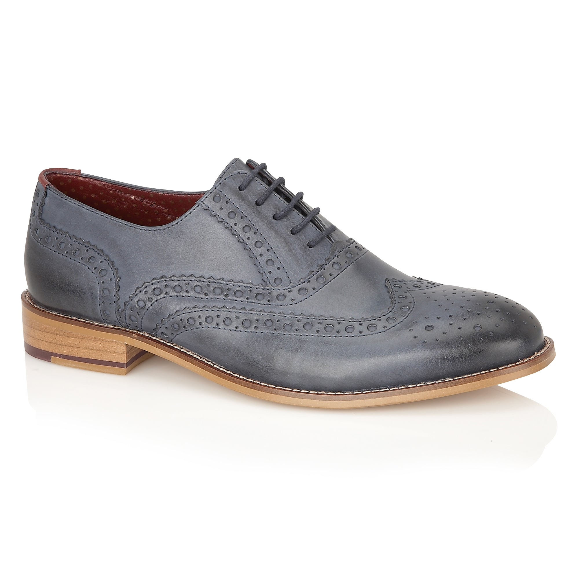 Gatsby Leather Brogue Navy - Wide Fit