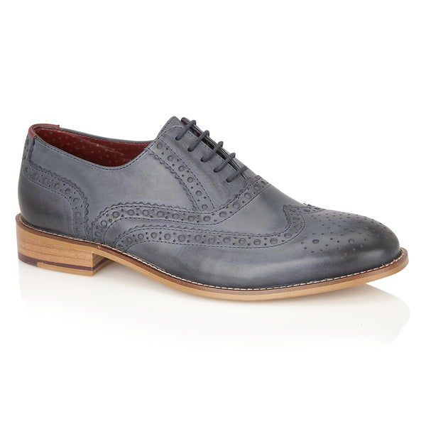 Gatsby Leather Brogue Navy - Wide Fit, Shoes, London Brogues  - London Brogues