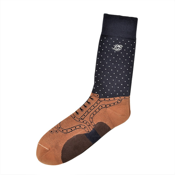 Brogue Socks Navy, Socks, London Brogues  - London Brogues