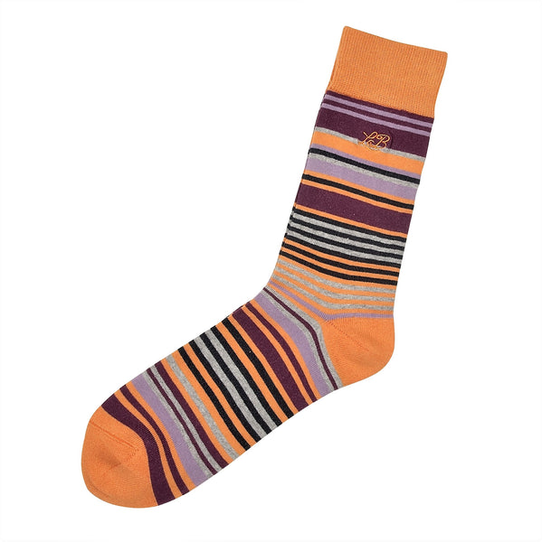 Stripe Socks Orange, Socks, London Brogues  - London Brogues