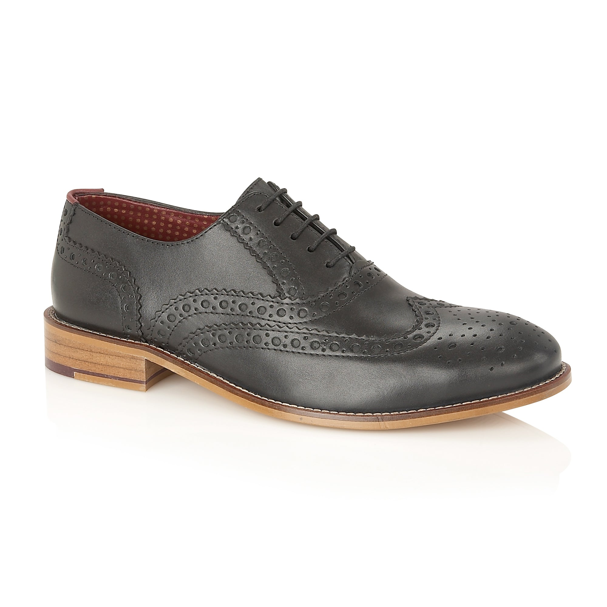 Gatsby Leather Brogue Black - Wide Fit, Shoes, London Brogues  - London Brogues