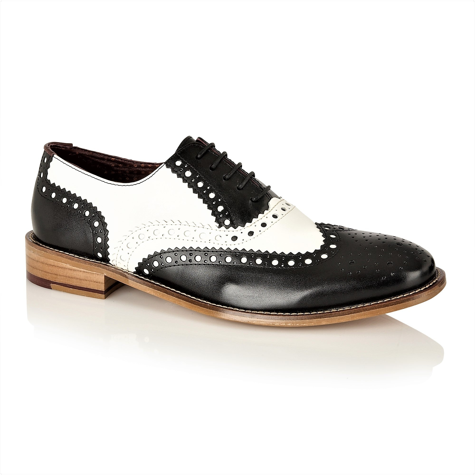 Gatsby Leather Brogue Black/White, Shoes, London Brogues  - London Brogues