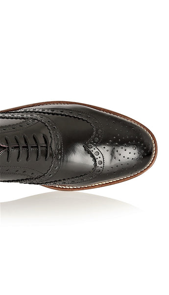 Gatsby Leather Brogue Black Polished, Shoes, London Brogues  - London Brogues