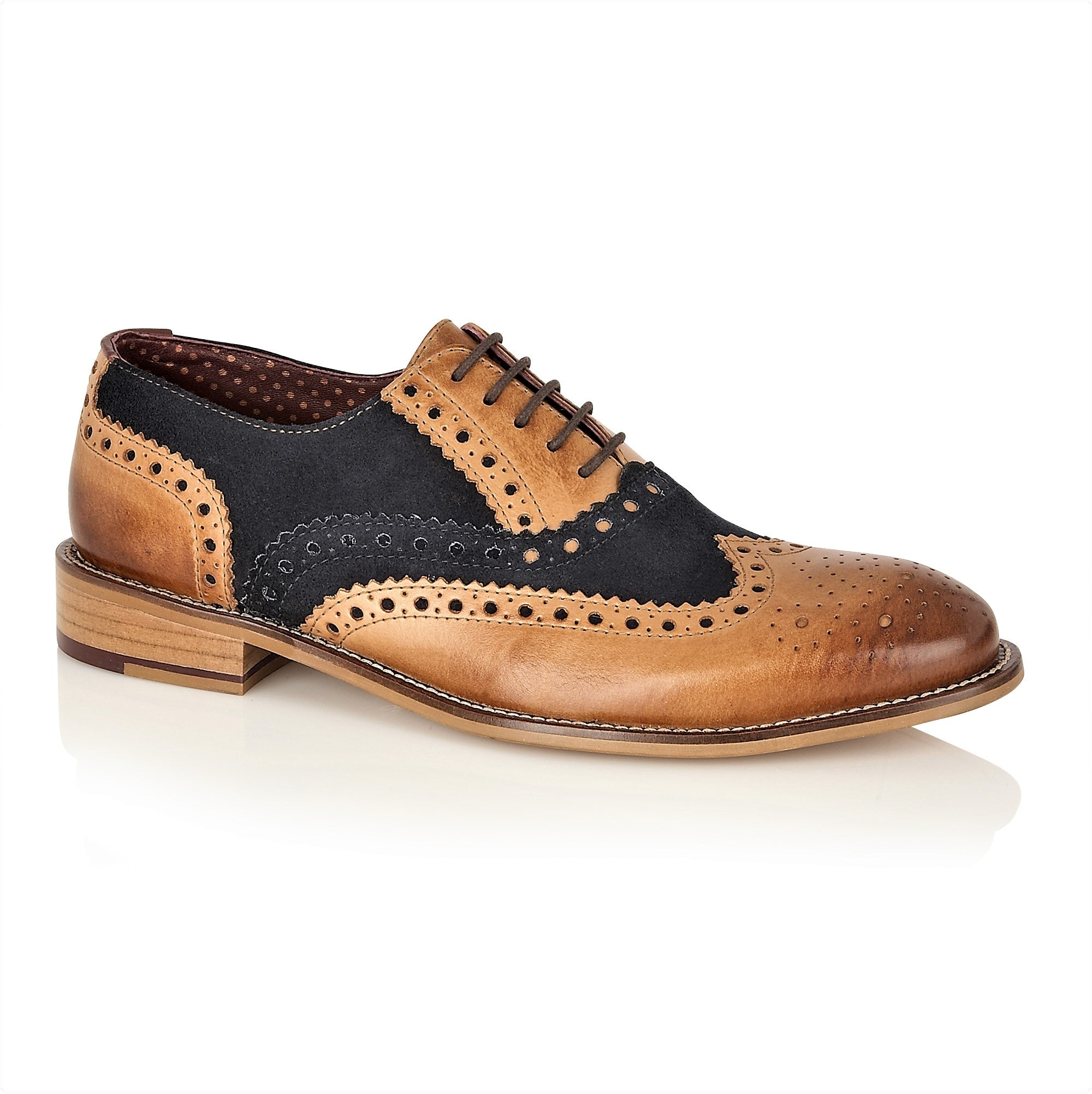 Gatsby Leather Brogue Tan/Navy, Shoes, London Brogues  - London Brogues