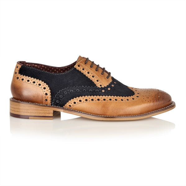 Gatsby Leather Brogue Tan/Navy-Wide Fit, Shoes, London Brogues  - London Brogues