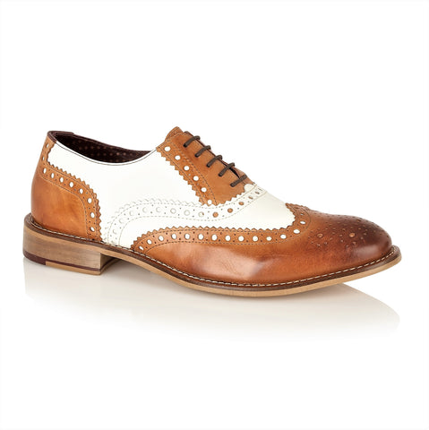 Gatsby Leather Brogue Tan/White, Shoes, London Brogues  - London Brogues