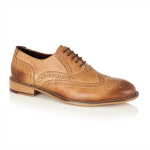 Gatsby Leather Brogue Tan - Wide Fit