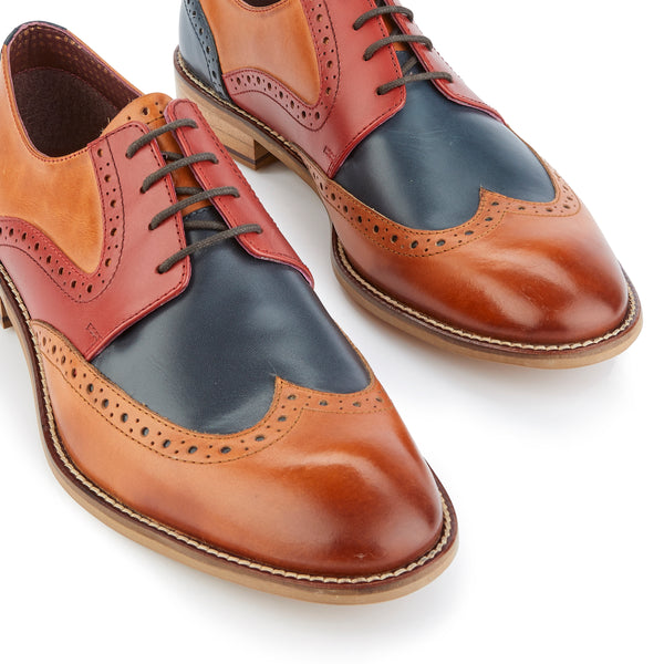 Tommy Derby Tan/Blue/Red