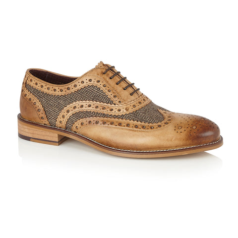 Gatsby Leather Brogue Tan/Tweed