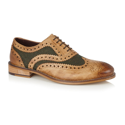 Gatsby Leather Brogue Tan/Green Tweed