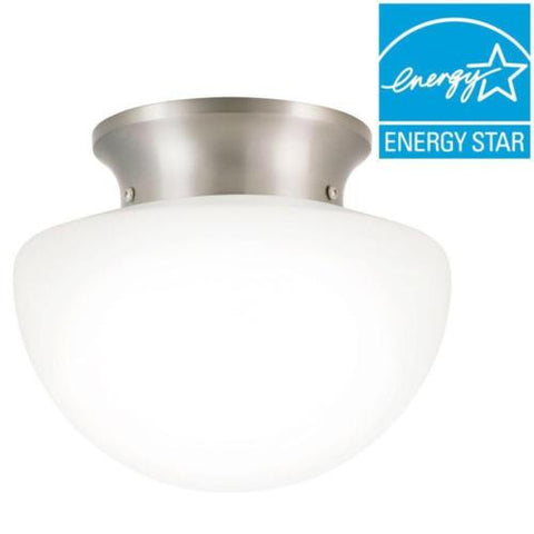 NH Commercial Electric 8 in. Brushed Nickel LED Rain Drop Flushmount 4W4200-SN A