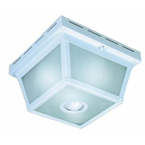N 360 Degree Square 4-Light White Motion Sensing Outdoor Flush Mount B+ HB-4305-WH