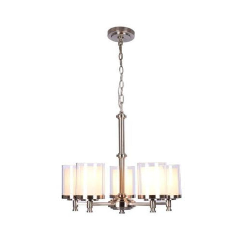 NH Hampton Bay Burbank 5-Light Brushed Nickel Chandelier 19703-000 B
