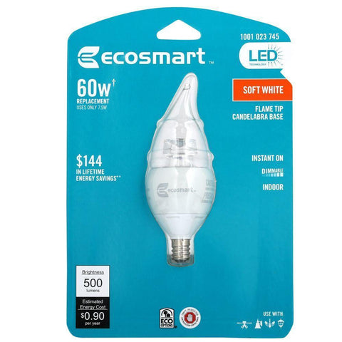 NH EcoSmart 60W Equivalent Soft White B10 Candelabra Base Dimmable LED Light Bulb