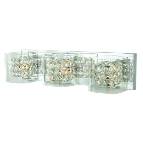 KZ Home Decorators Collection Crystal Cube 3-Light Polished Chrome Vanity Light B+ 1001220894