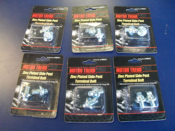 KZ Lot of 6 Cards of 2 - Motor Trend MT202311 Zinc Plated Side Post Terminal Bolts