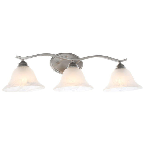 NH Hampton Bay Andenne 3-Light Brushed Nickel Bath Vanity Light 705075 B