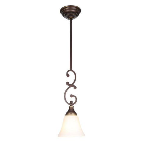 NH Hampton Bay Somerset 1-Light Oil-Rubbed Bronze Mini Pendant 229232 A