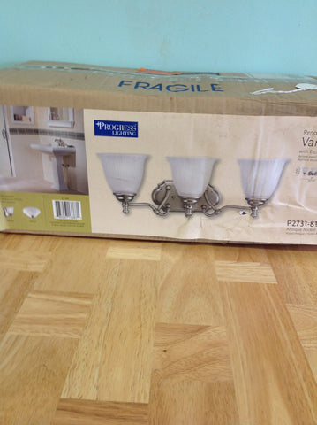 NH Progress Lighting Renovations 3-Light 8.25-in Antique Nickel Bell Vanity Light P2731-81 A
