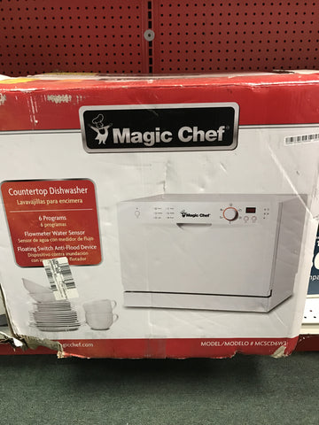 NH Magic Chef Countertop Portable Dishwasher in White with 6 Place Settings Capacity MCSCD6W3 A