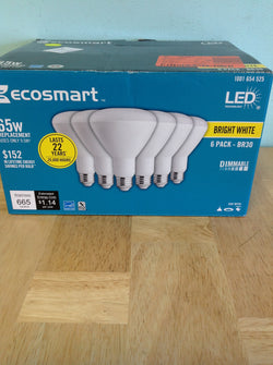 EcoSmart 65W Equivalent Bright White BR30 Dimmable LED Light Bulb (6-Pack) 1001 655 218