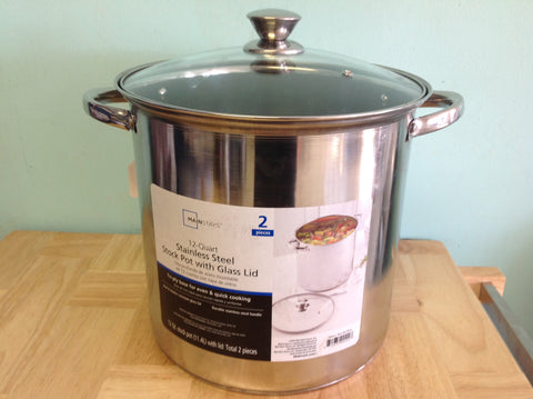 NH Mainstays 12-Quart Stockpot with Lid, Stainless Steel 550451421 A