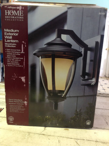 NH Home Decorators Collection Stockholm 1-Light Satin Bronze Outdoor Wall Lantern 253425 A