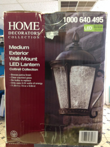 NH Home Decorators Collection Aged Bronze Patina Outdoor LED Wall Lantern 1000640495 A