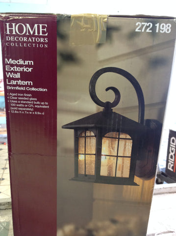 NH Home Decorators Collection Brimfield 1-Light Aged Iron Outdoor Wall Lantern 272198 A